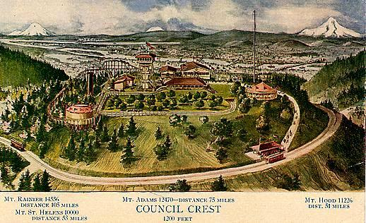 Historic postcard of Council Crest