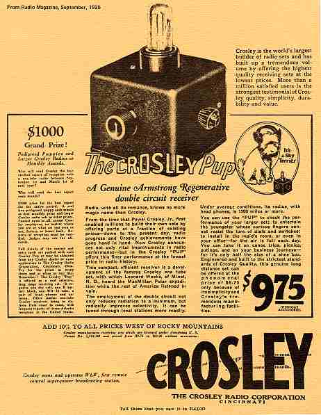 Crosley Radio Ad From Magazine September 1920